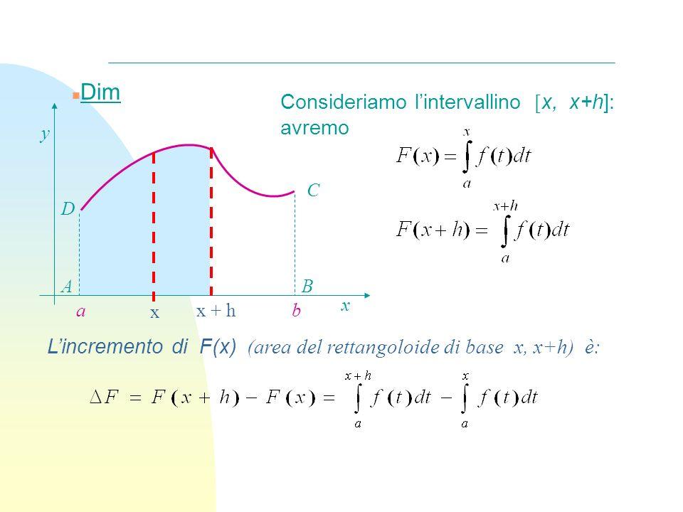 Dim Consideriamo l'intervallino [x, x+h]: avremo